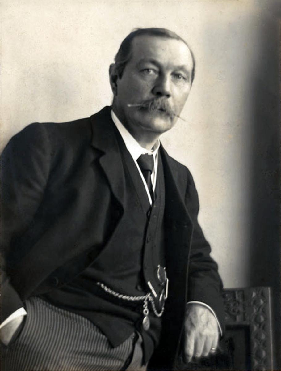 Arthur Conan Doyle author of Sherlock Holmes, Photograph by Walter Benington