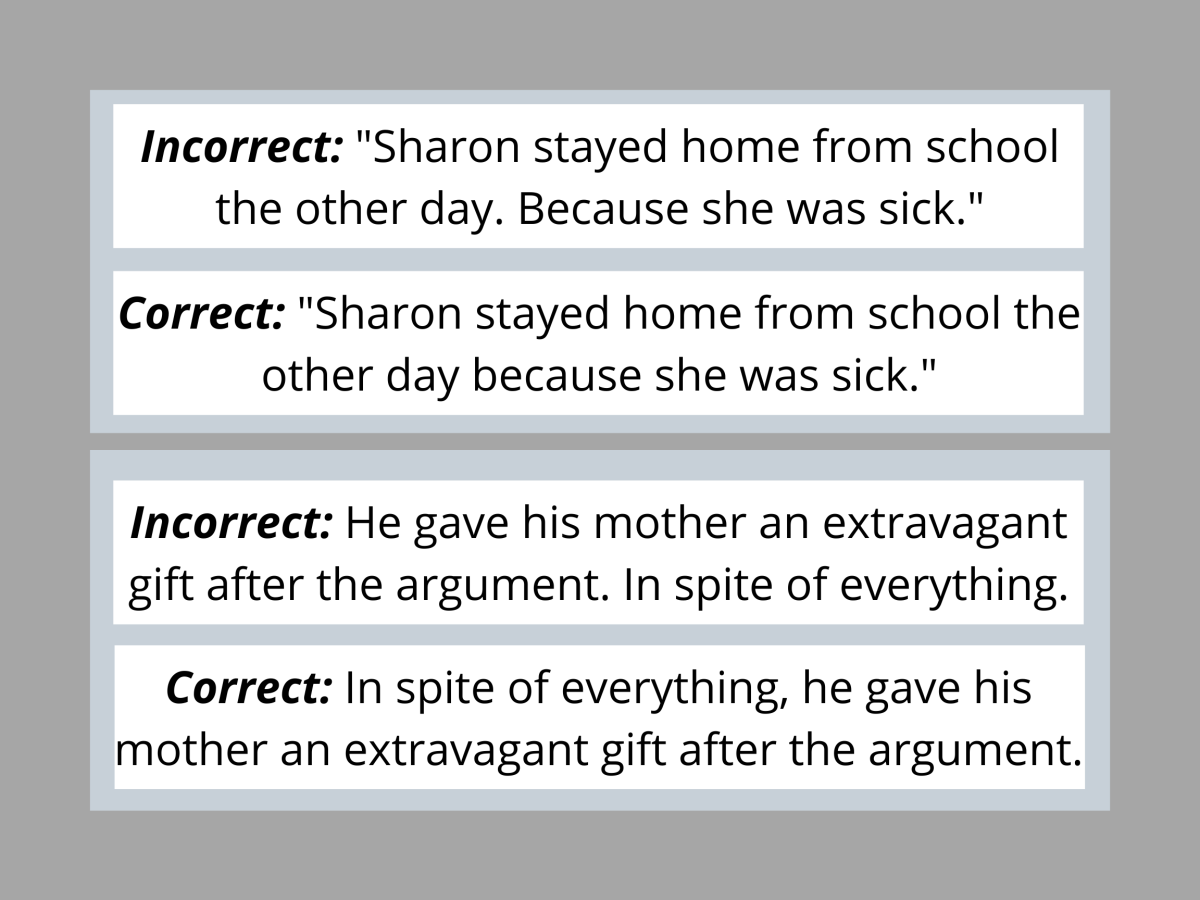 Pic 2 : Examples for Sentence Fragments.