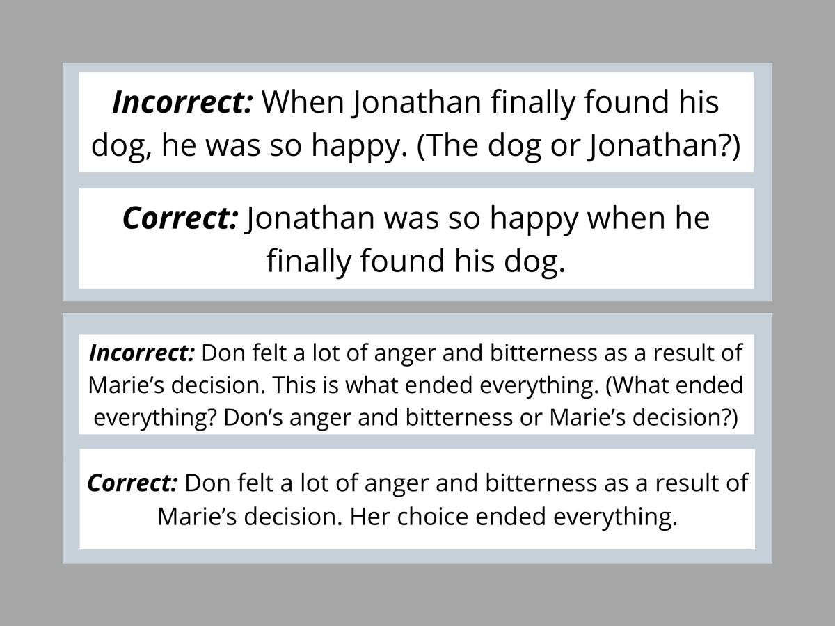 Pic 4 : Examples for Vague Pronoun Reference.