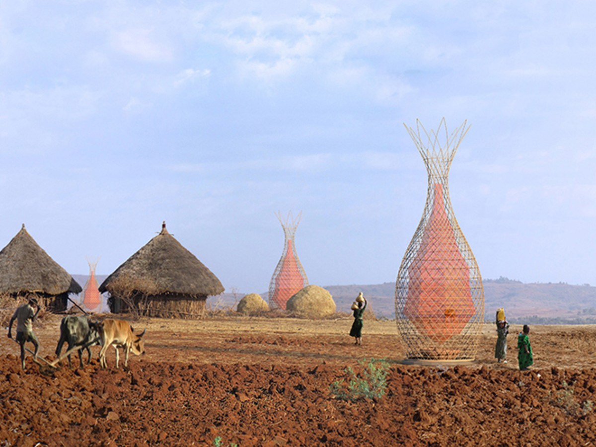 Warka Water towers being used in Namib desert in Africa