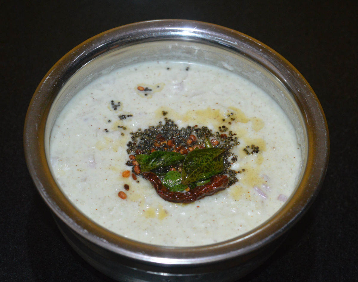 Add hing powder and mix well. Add this mixture to the raita. Enjoy eating the delicious and nutritious raita with cooked rice or as a side dish with meals.