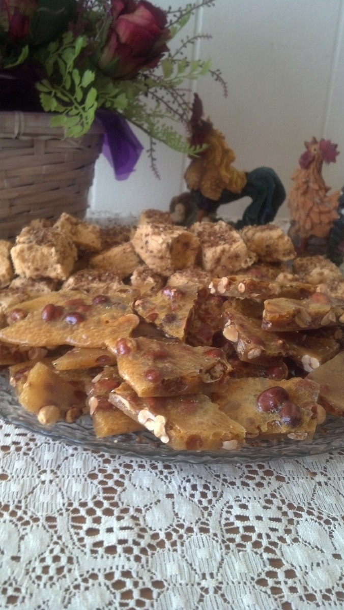peanut brittle and butterscotch pecan fudge