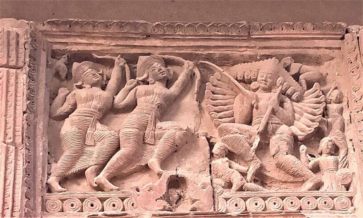 Battle between Lord Rama and Ravana : tale from Ramayana in terracotta, Gauranga Mahaprabhu temple, Illambazar