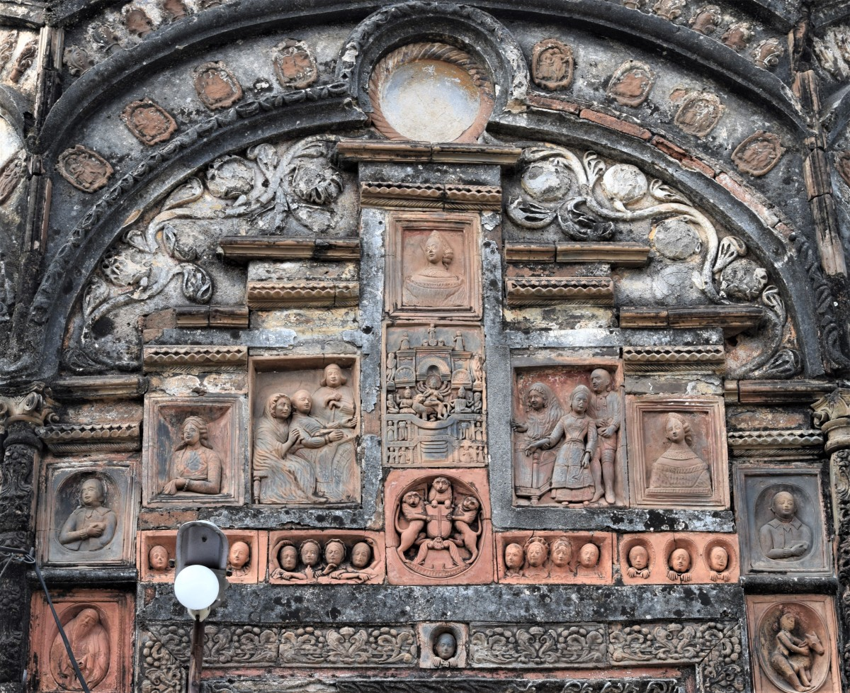 Decoration of Chandranath temple. please look at the European figures.