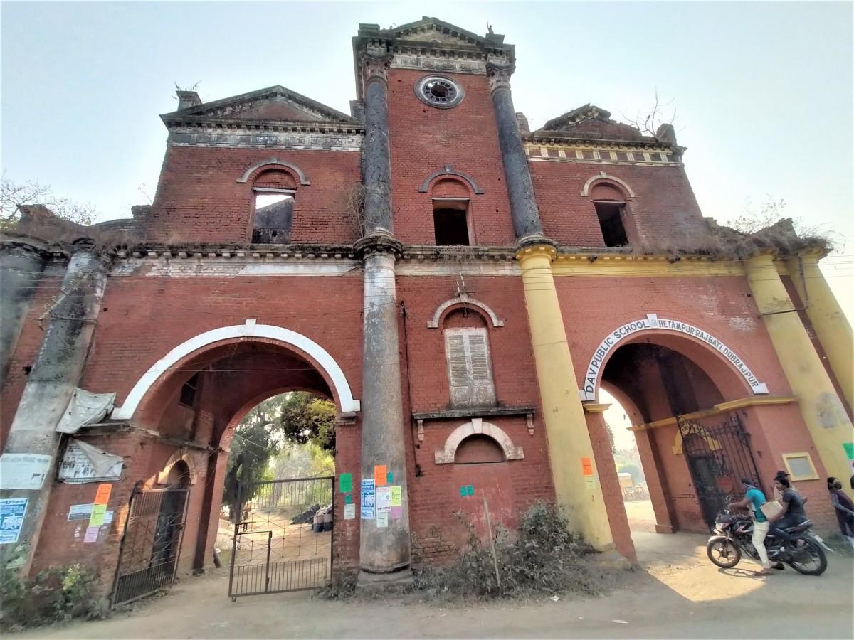 The main entry gate of Ranjan Palace, the Royal palace of Hetampur, Birbhum