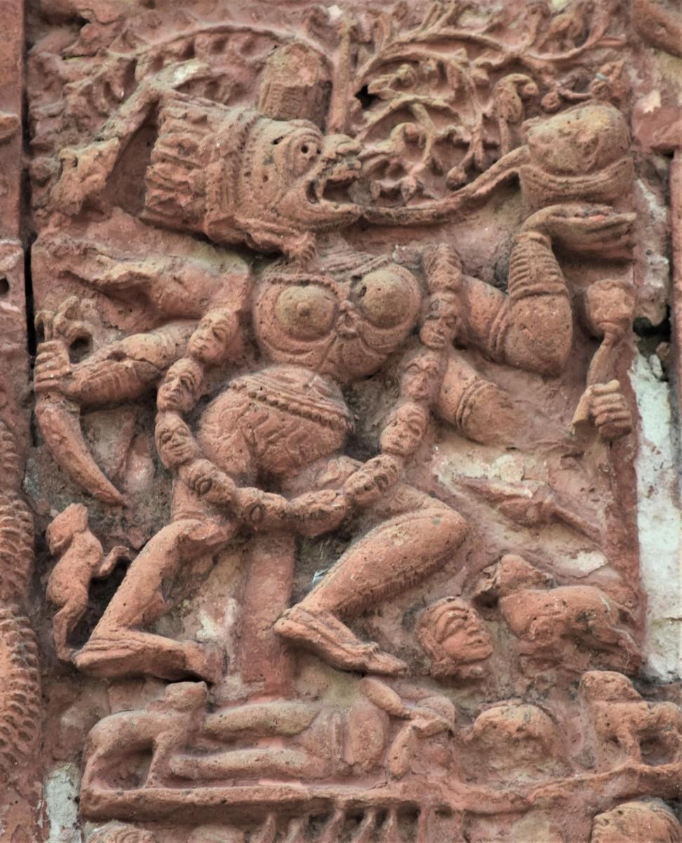 KOKAMUKHI KALI  in terracotta; Raghunath Shiva temple, Ghurisha