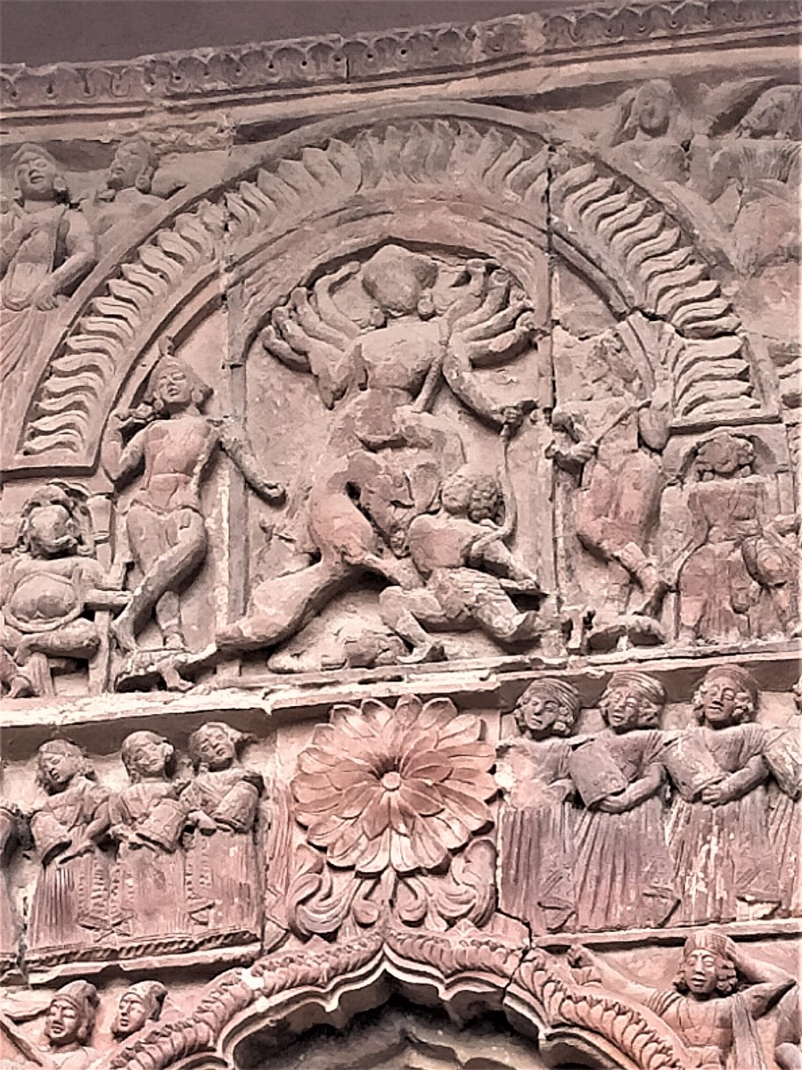 Goddess Durga in terracotta, Gauranga Mahaprabhu temple, Illambazar