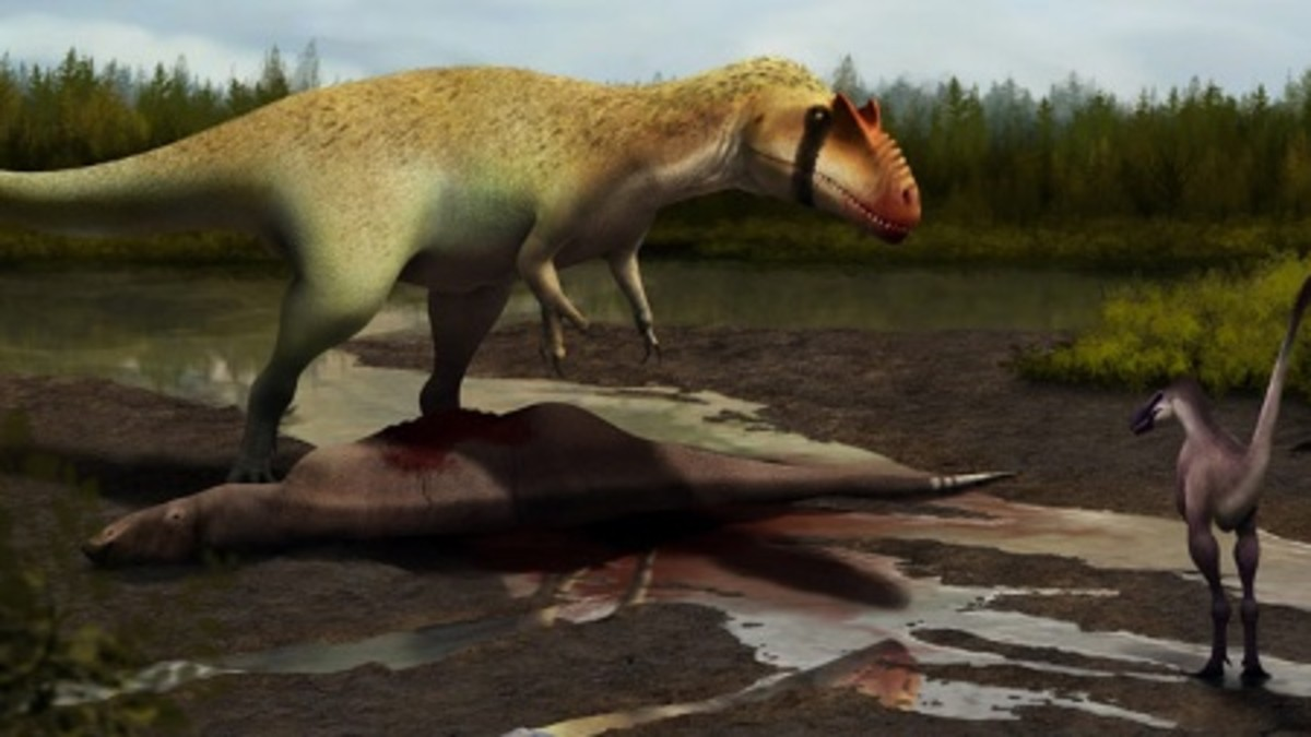 Siats (left) looming over an iguanodont it killed and the as-yet-unnamed Moros in a 2013 painting by Julio Lacerda.