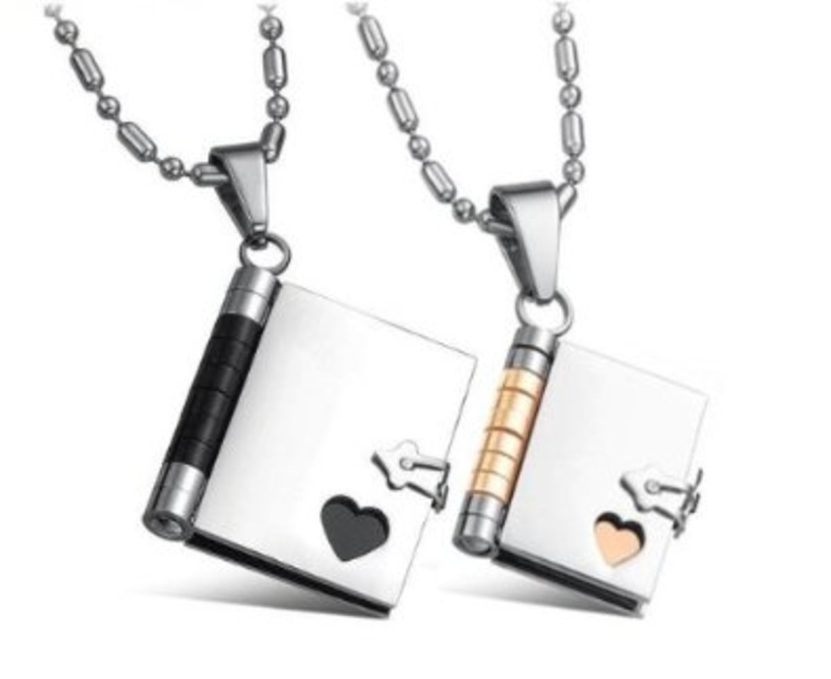These beautiful pendants would make the perfect gift as they are, but would be even more special if you got the pages inside engraved - a local jeweler or an engraver in your local Mall would do this for you!