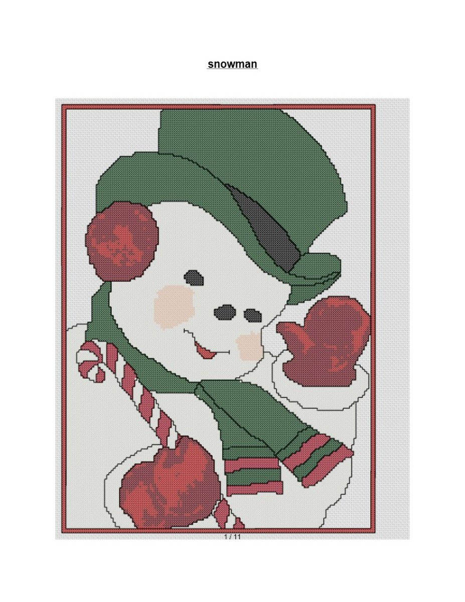 free cross stitch pattern large snowman