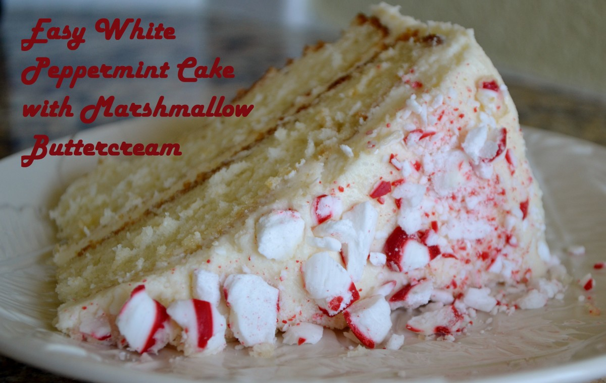 Easy White Peppermint Cake with Marshmallow Buttercream Frosting