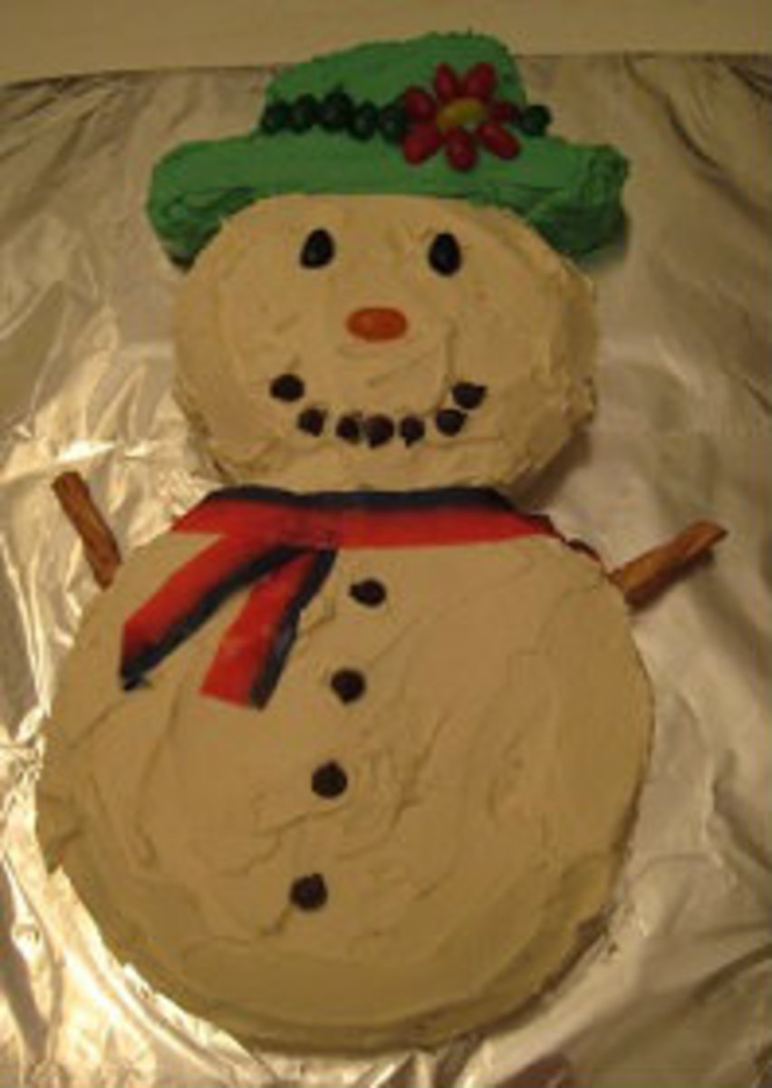 "Follow the blue ""adorable snowman cake"" link (in the paragraph at left) for directions."