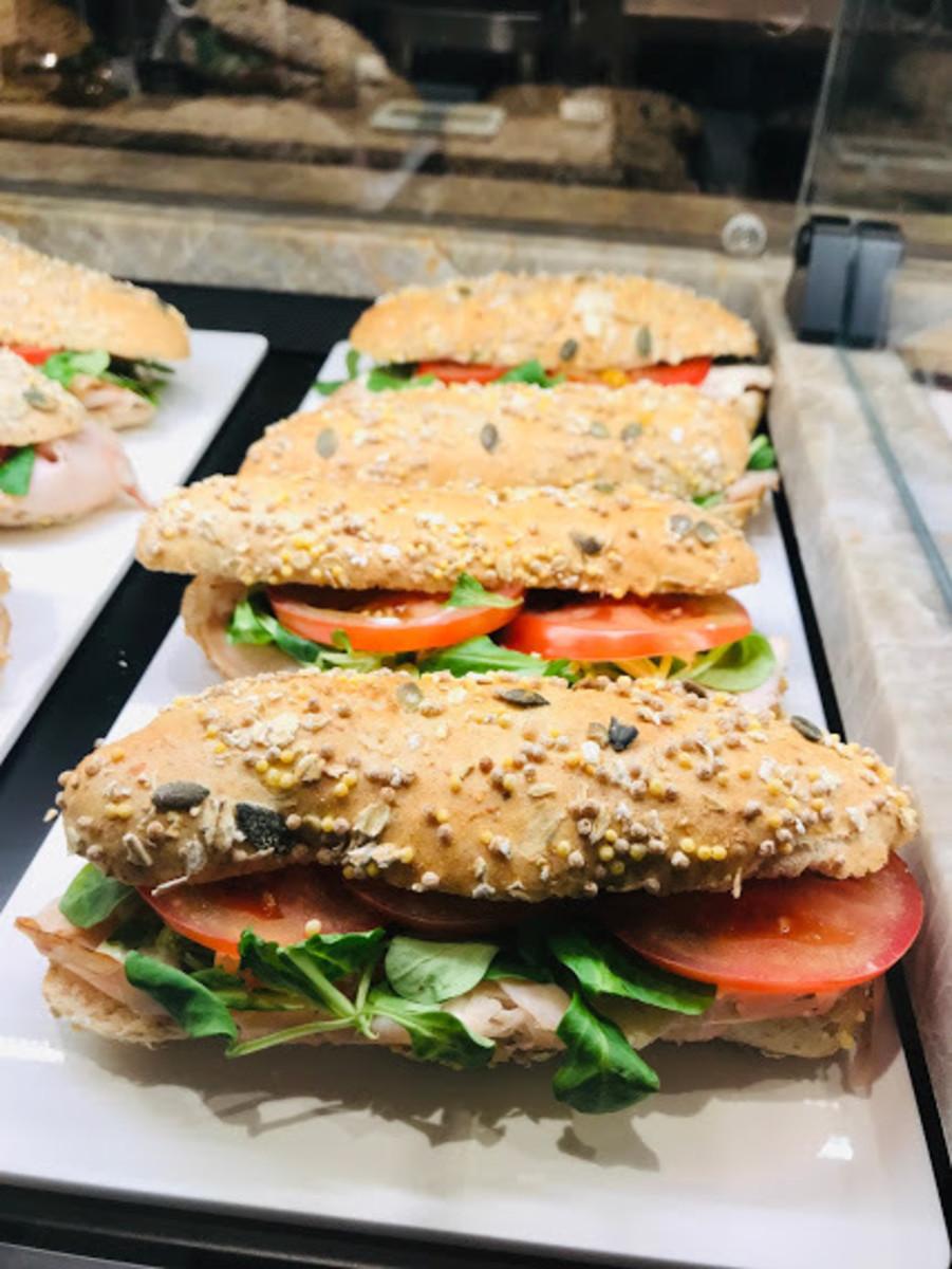 Some sandwiches at an Italian Starbucks coffee shop