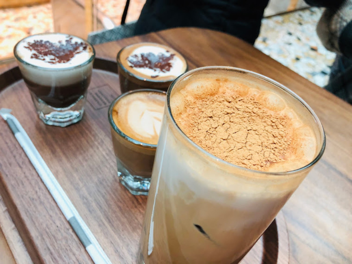 Some coffee drinks ordered at the Starbucks Reserve Roastery of Milan