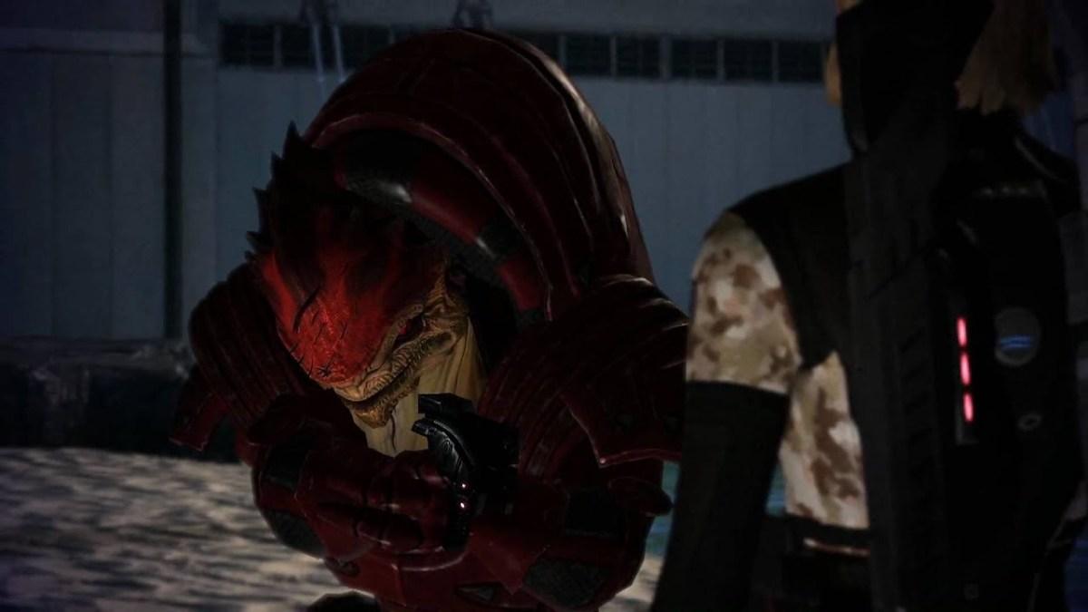 Wrex attempts to shoot Shepard.