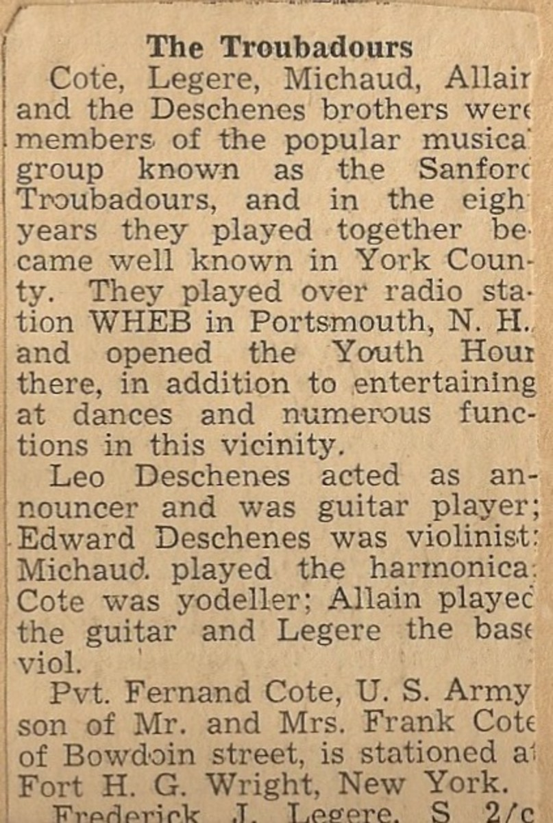 Clipping about the Sanford Troubadours