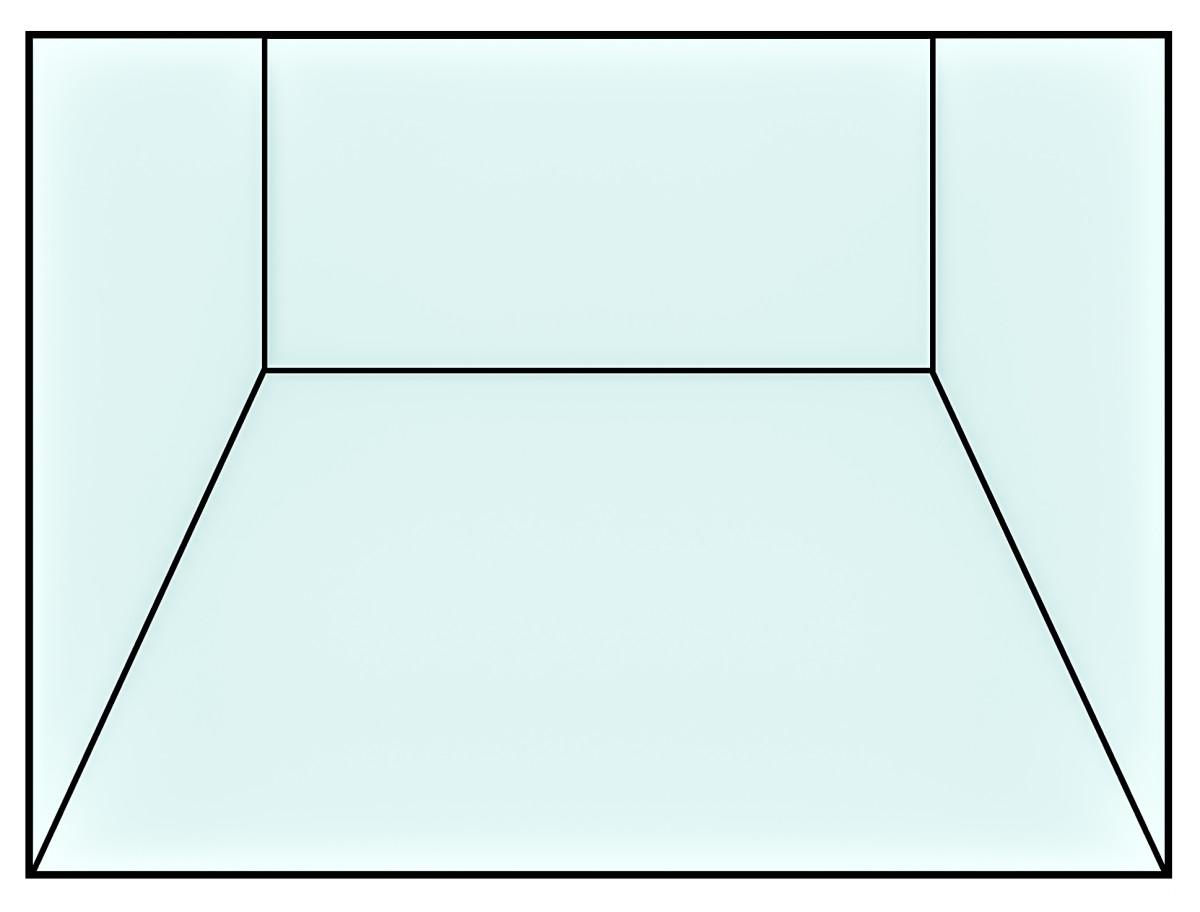 A three-dimensional floor plane drawn using lines