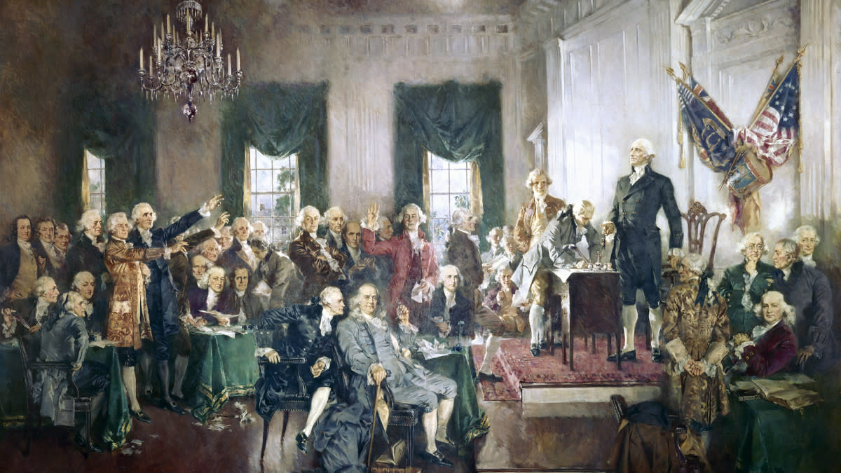 The signing of the US Constitution at the Constitutional Convention of 1787