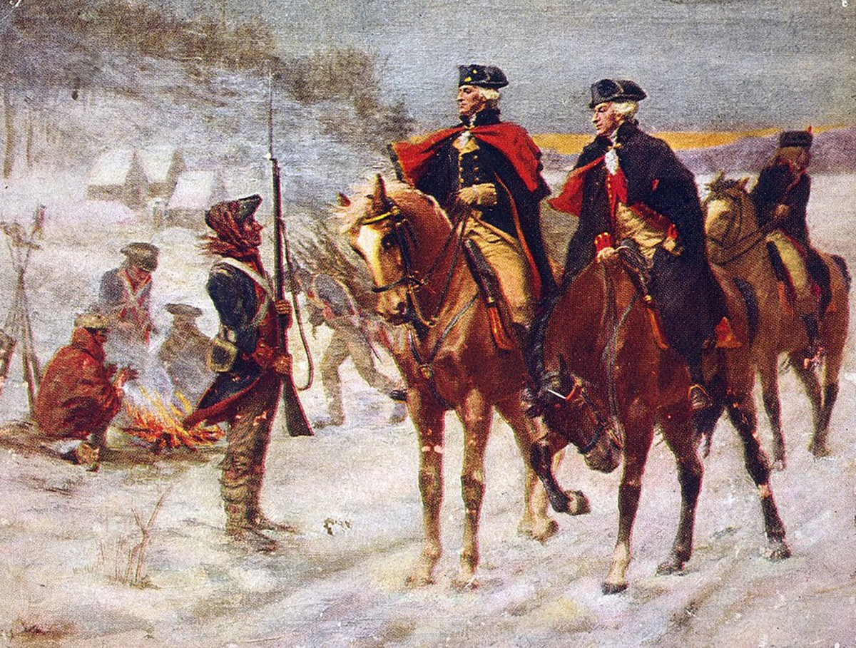 Washington and his troops at winter camp at Valley Forge.