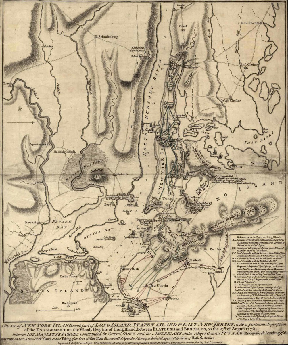 Map of battles in New York and New Jersey during 1776.