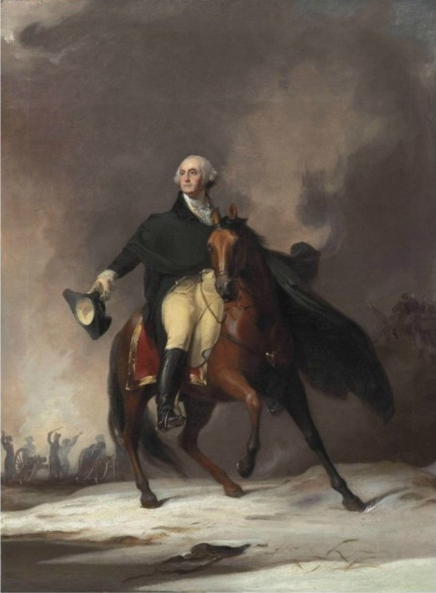 General George Washington on horseback during the Revolutionary War. Painting by Thomas Sully, 1842.