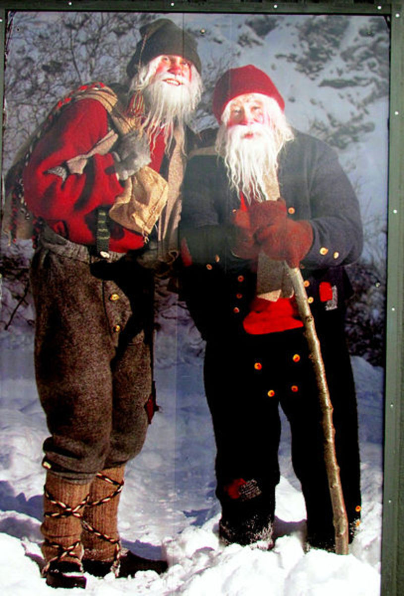 Two of the Yule lads pictured on a billboard in Dimmuborgir, Iceland