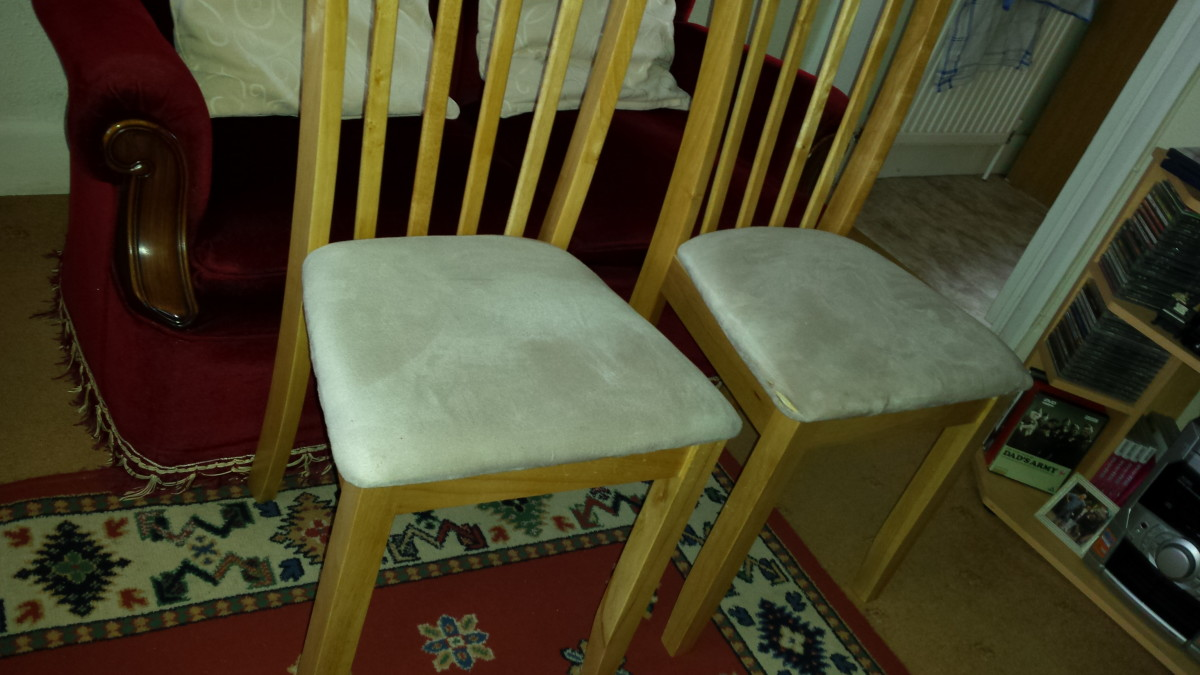 The chairs before I covered them. The before photos
