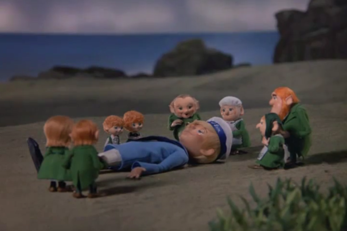 The leprechauns gathered around Dinty, who fell into a deep slumber.
