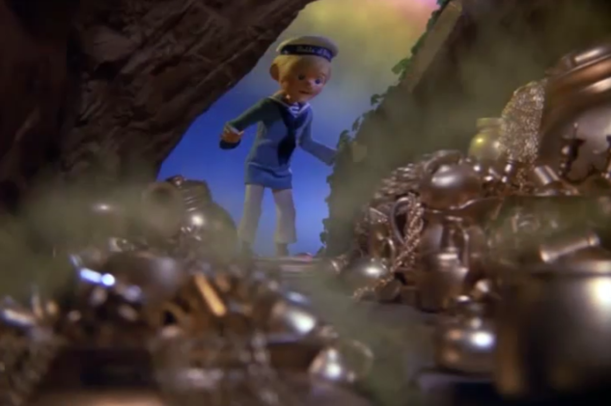 Dinty discovering the leprechaun stash of gold.