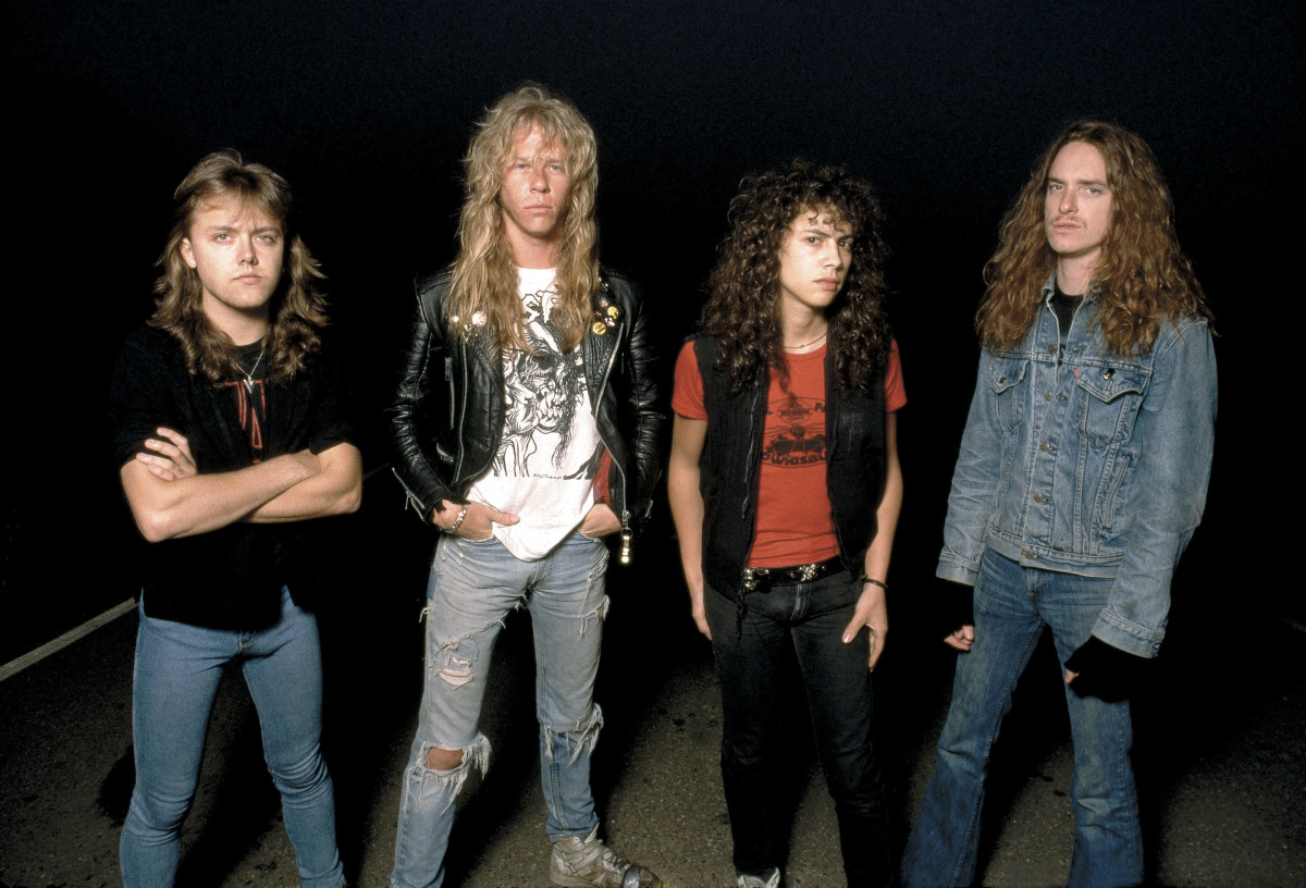 Lars Ulrich, James Hetfield, Kirk Hammett, and Cliff Burton seen here in 1986.