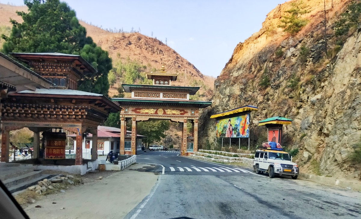 The magnificent gate to enter Thimphu