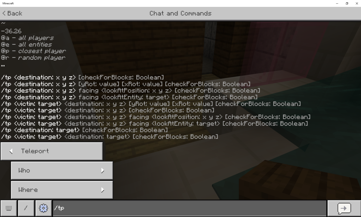 "The chat screen in ""Minecraft"" also allows players to enter console commands, such as this list of teleport commands."