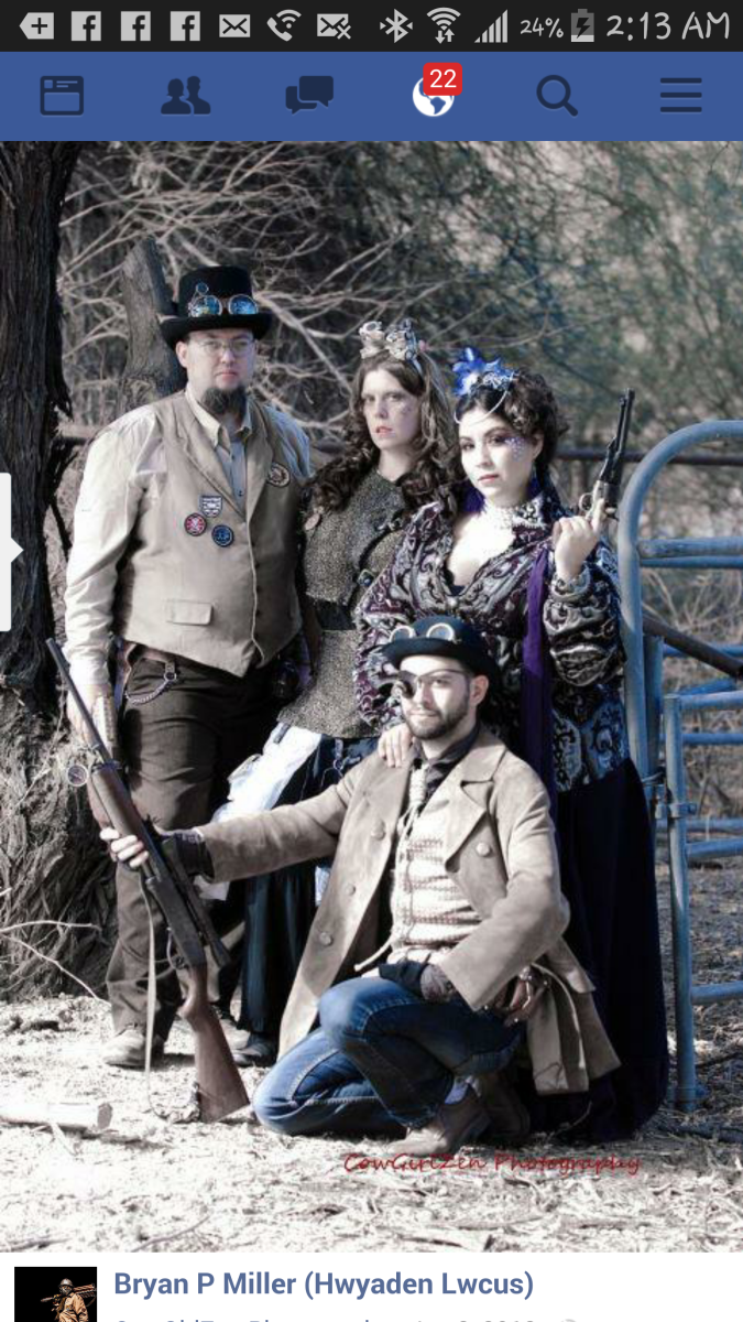 Bryan Patrick Miller and other Steampunk enthusiasts at professional photo shoot in Apache Junction.