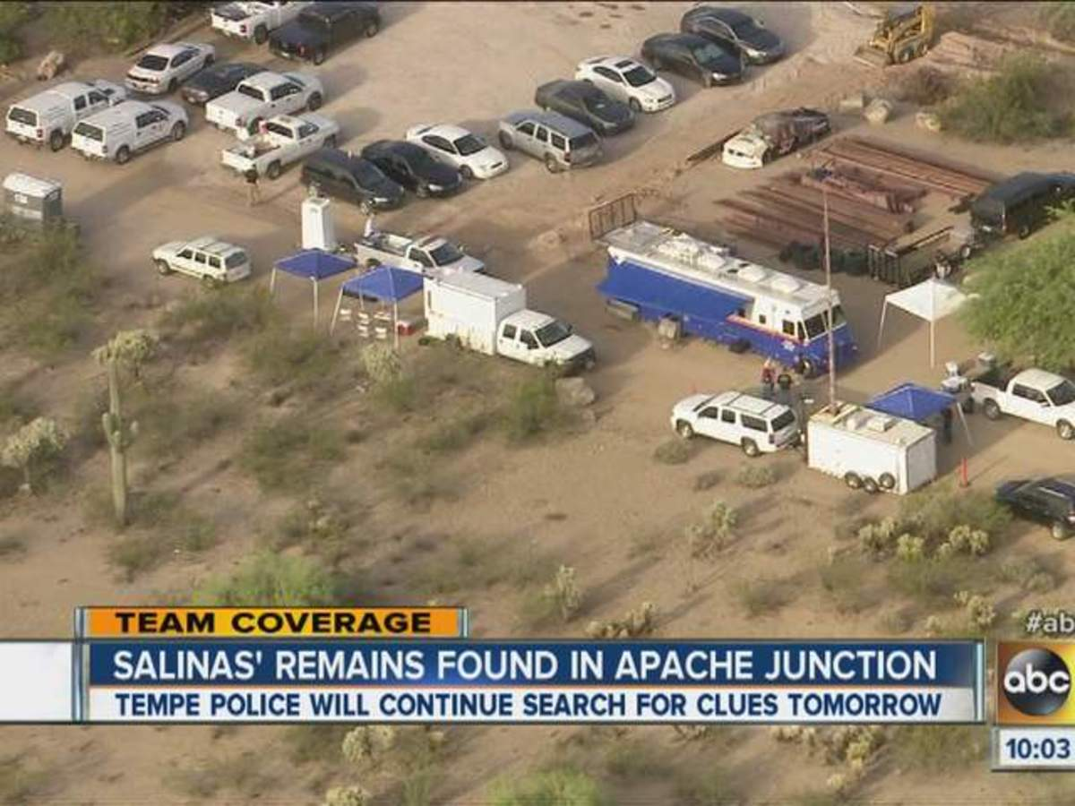 Police search the Apache Junction wash for evidence related to the murder of Adrienne Salinas.