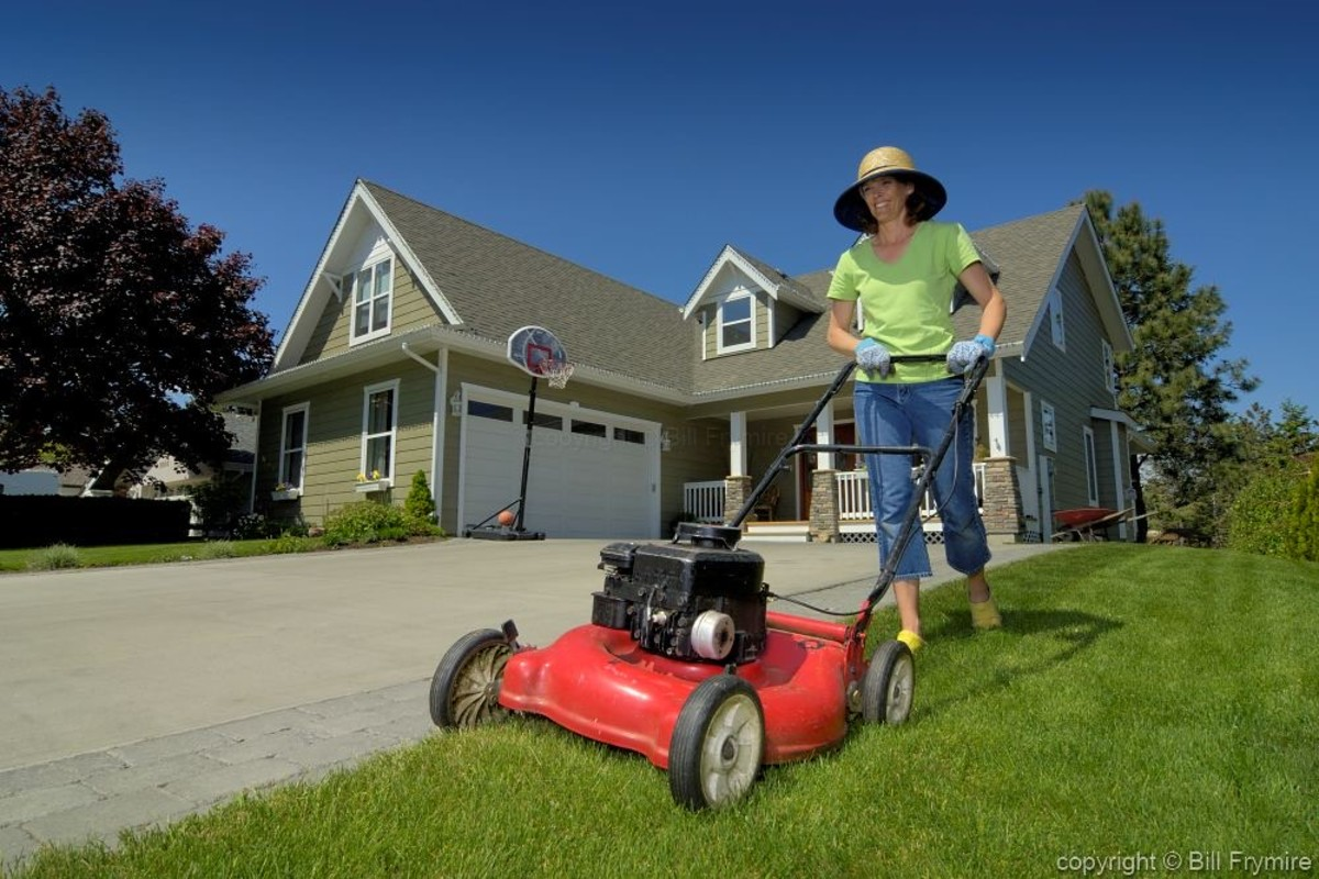 Wear hat and protective gloves when mowing your lawn.