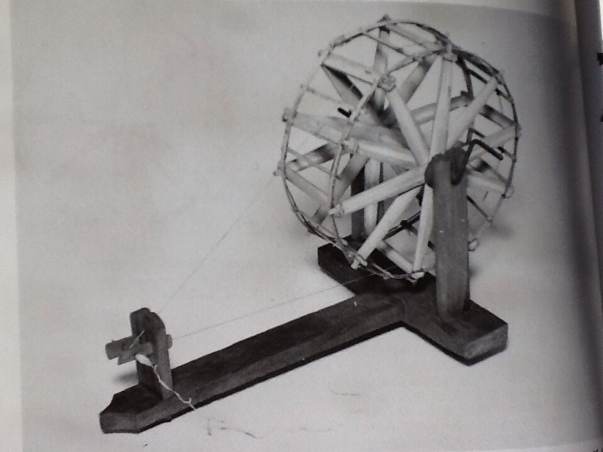 A primitive wheel from Burma. Only one step removed from a hand spindle. The Indian charkha probably resembled this in design and function.