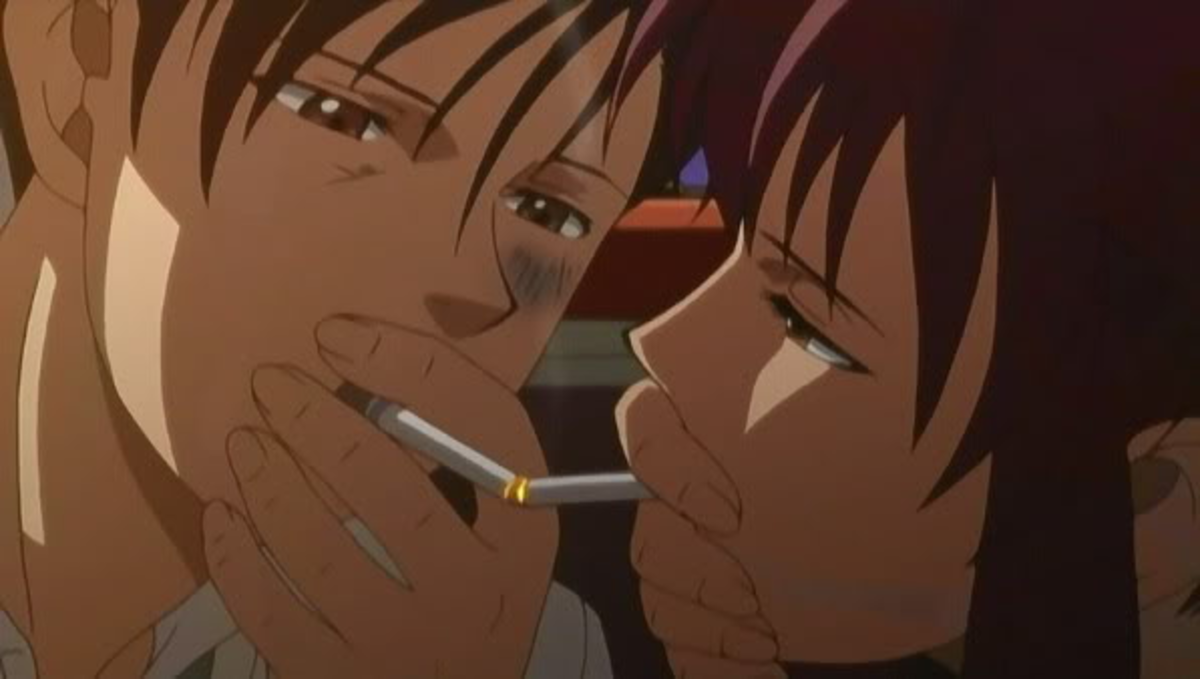 "Referred to by fans as the ""cigarette kiss"" because it marks the change in Rock and Revy's relationship, it is still nonetheless low key.  Neither person makes any other similar gestures beyond this point despite their closeness."
