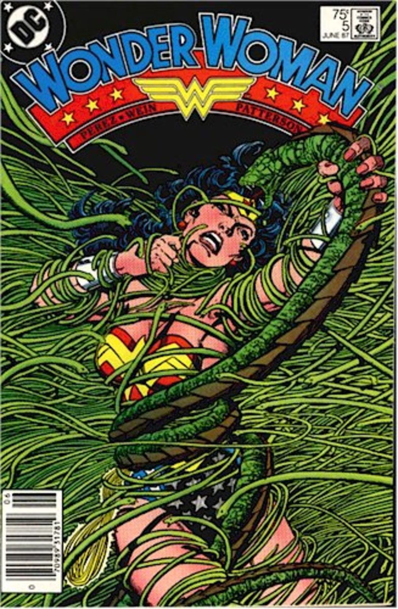 Wonder Woman entangled in Deimos's beard of snakes on the cover of issue #5.