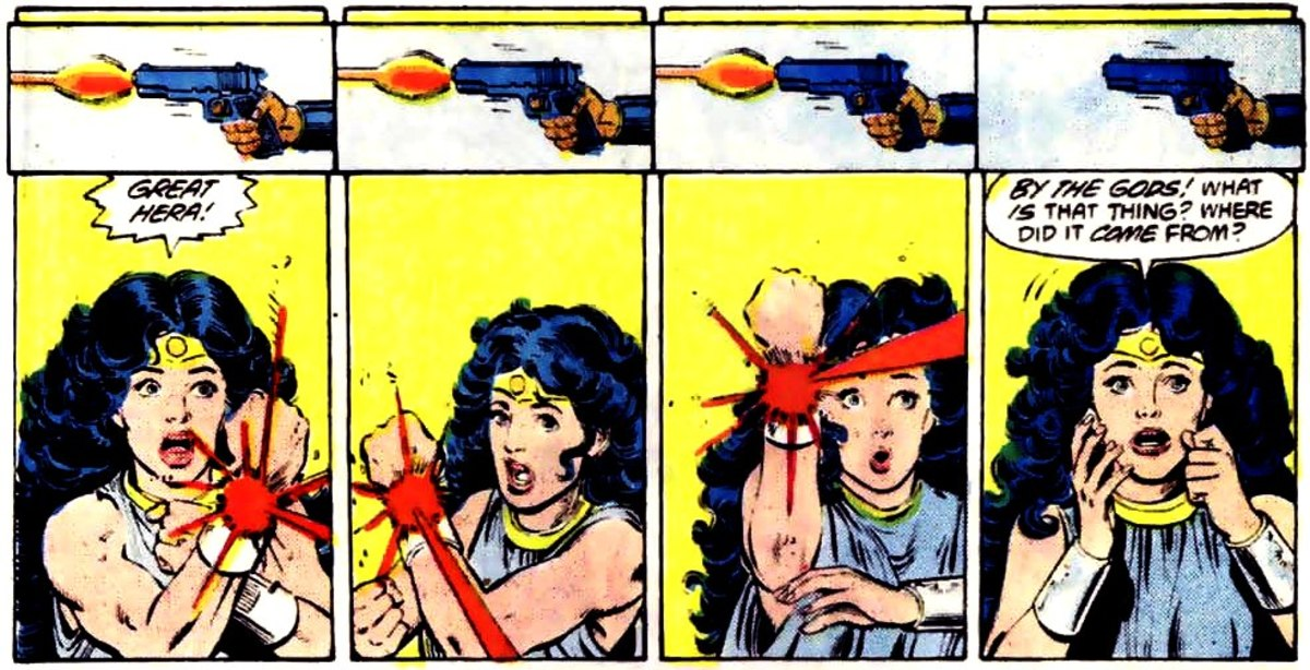 Diana as she deflects the bullets.