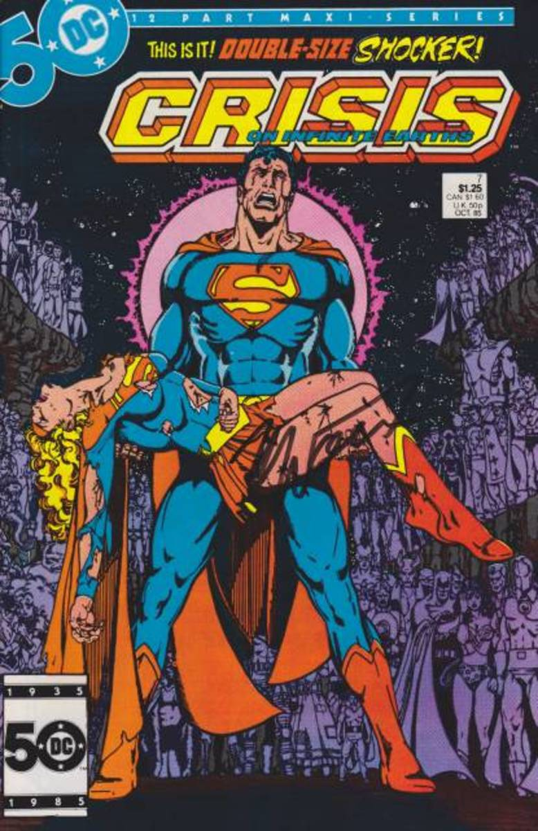 Superman cradling Supergirl's body as he wails in sorrow on the cover of Crisis on Infinite Earths #7.