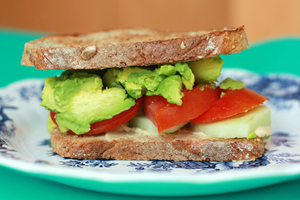 Avocado, Tomato, & Cucumber on rustic seed and grain bread