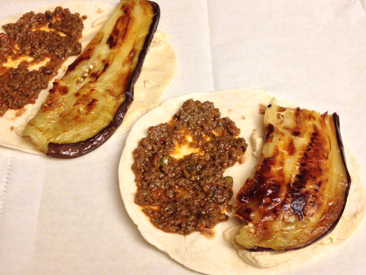 Olive Tapenade, Hummus & Eggplant on a Tortilla