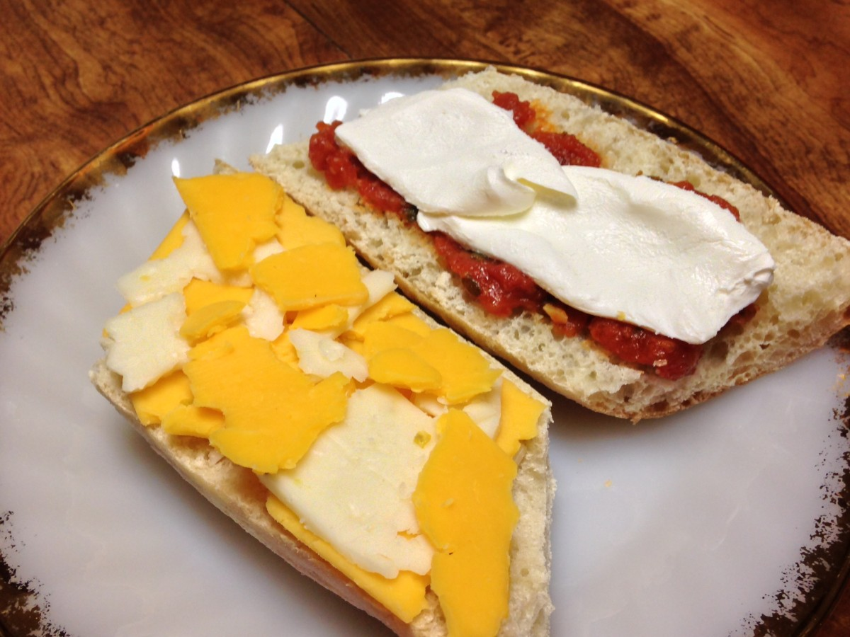 Baguette with Jalapeno Jack and sharp cheddar cheese on the left, and Abruzzi tomatoes and cream cheese on the right