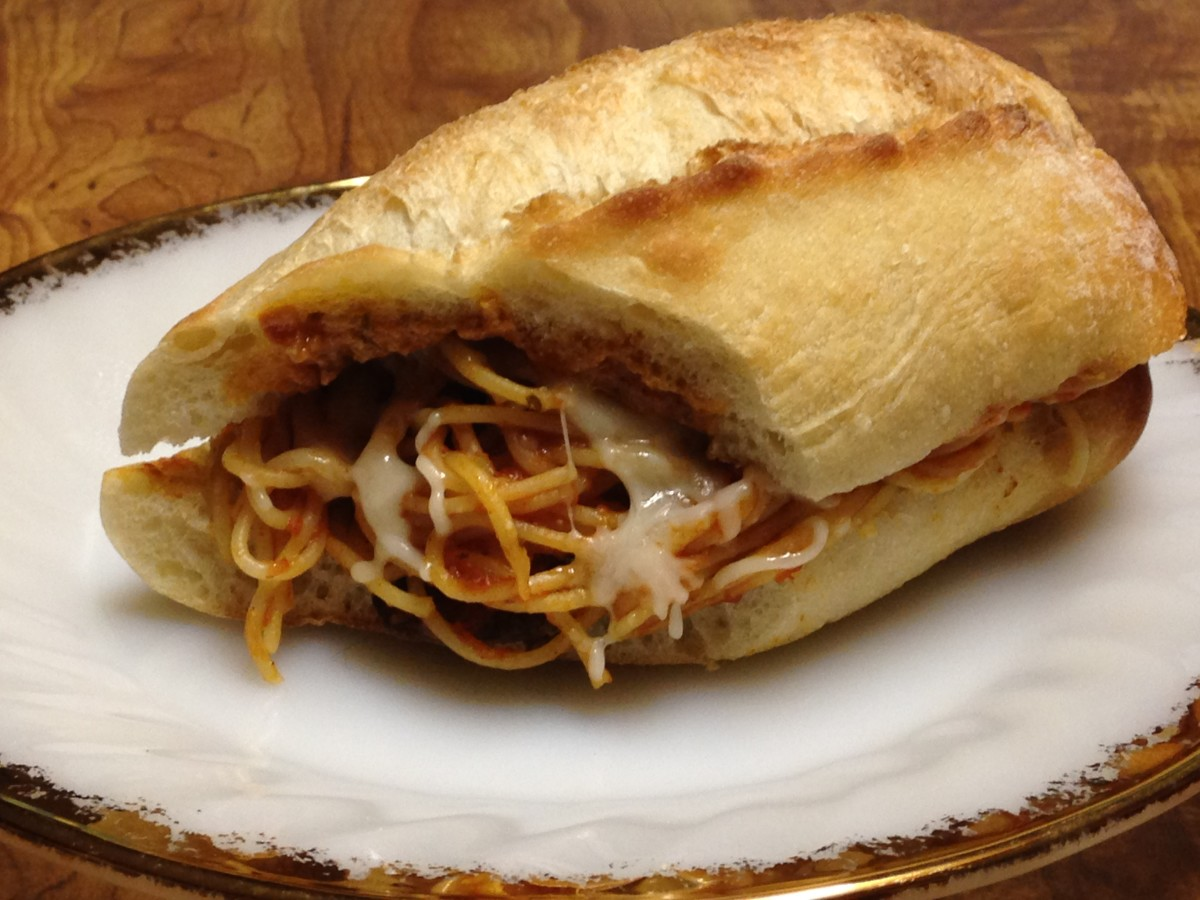Spaghetti sandwich on baguette