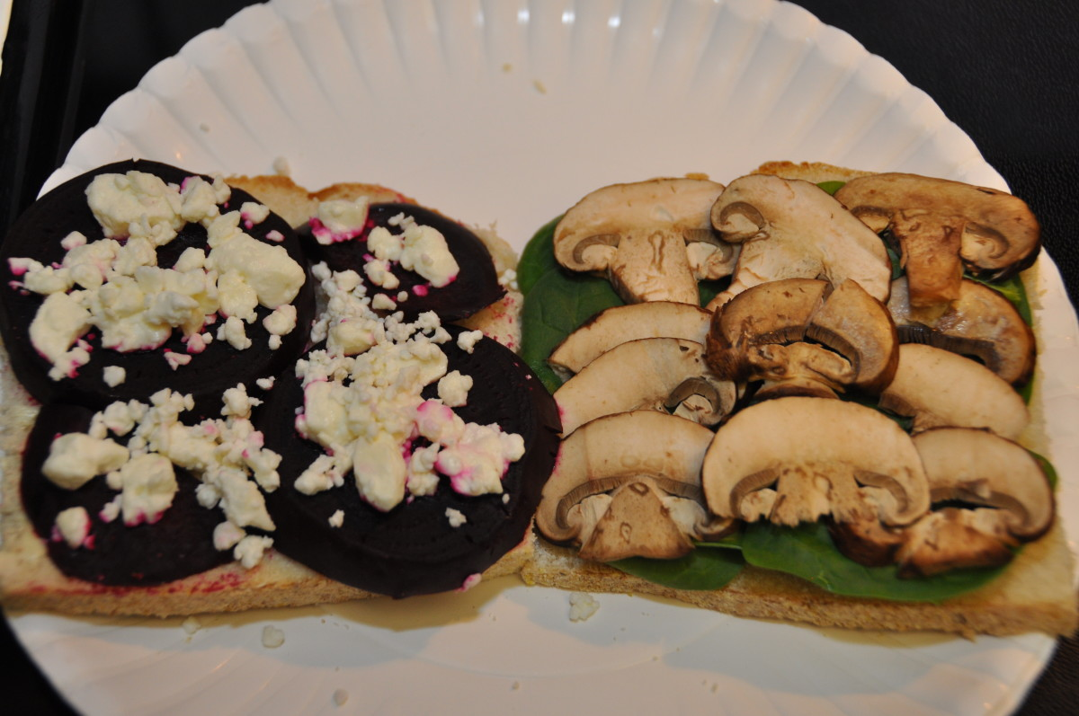 Beets and feta on left, spinach and mushrooms on right