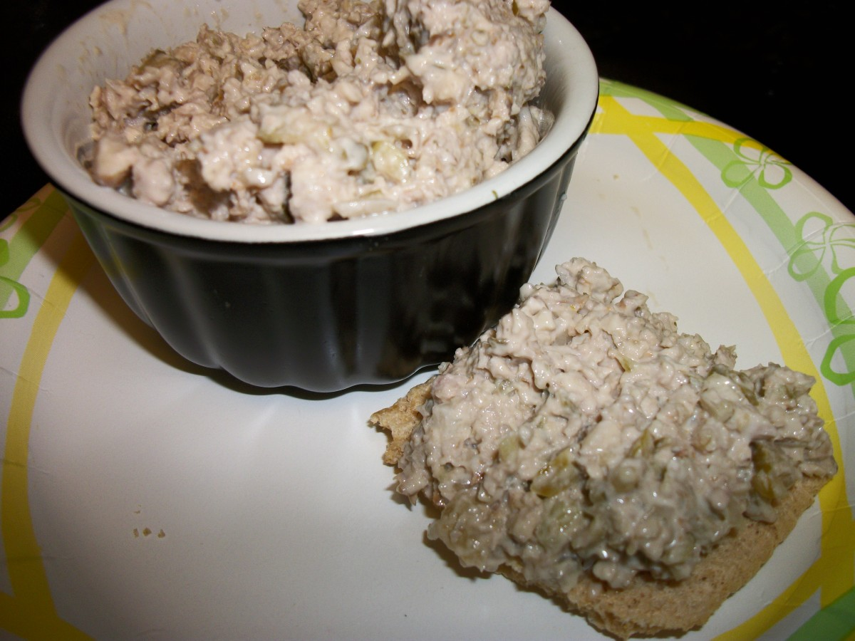 Mock tuna made with walnuts, sweet pickle relish, red onion, and mayo