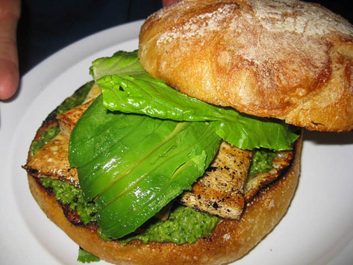 Tofu & Pesto Sandwich on rustic bread