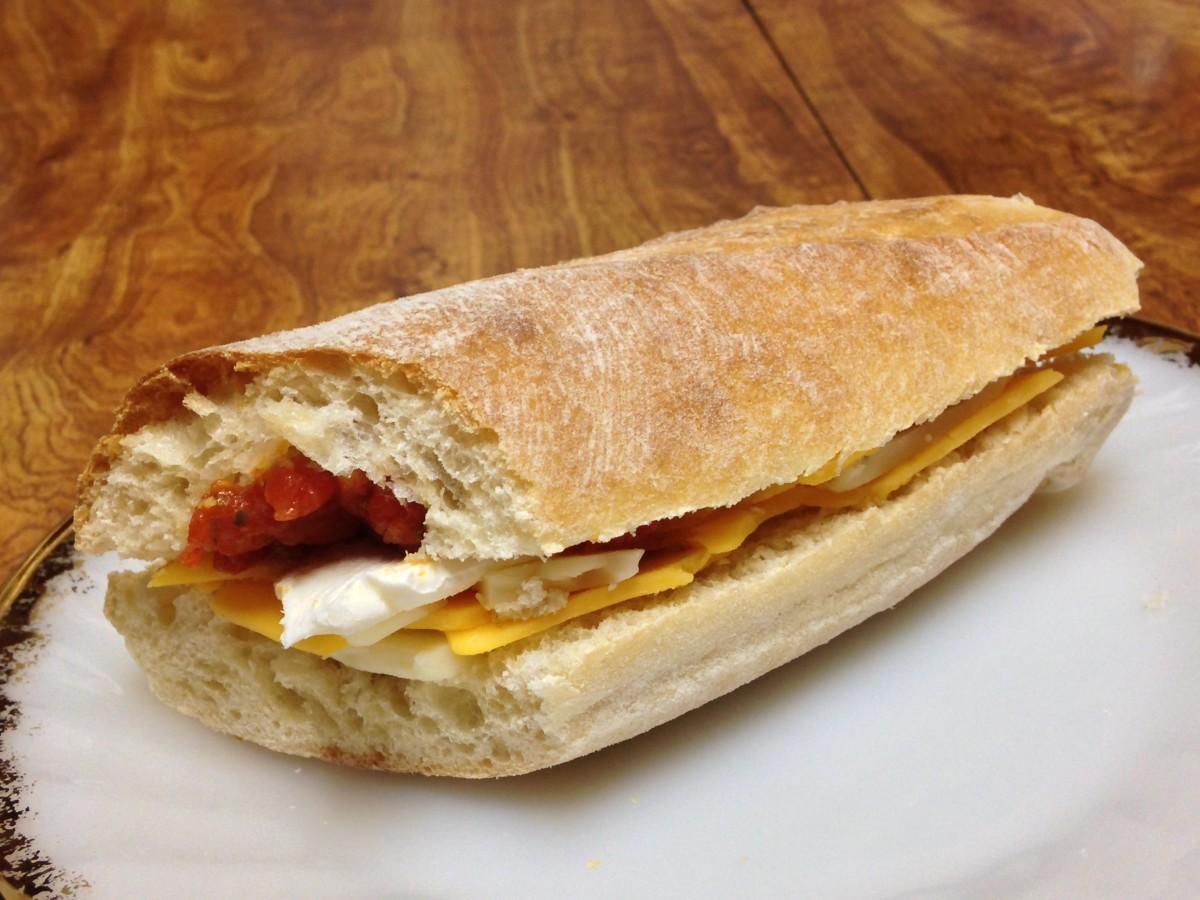 Cold Cheese Sandwich made with 3 cheeses and Abruzzi tomatoes