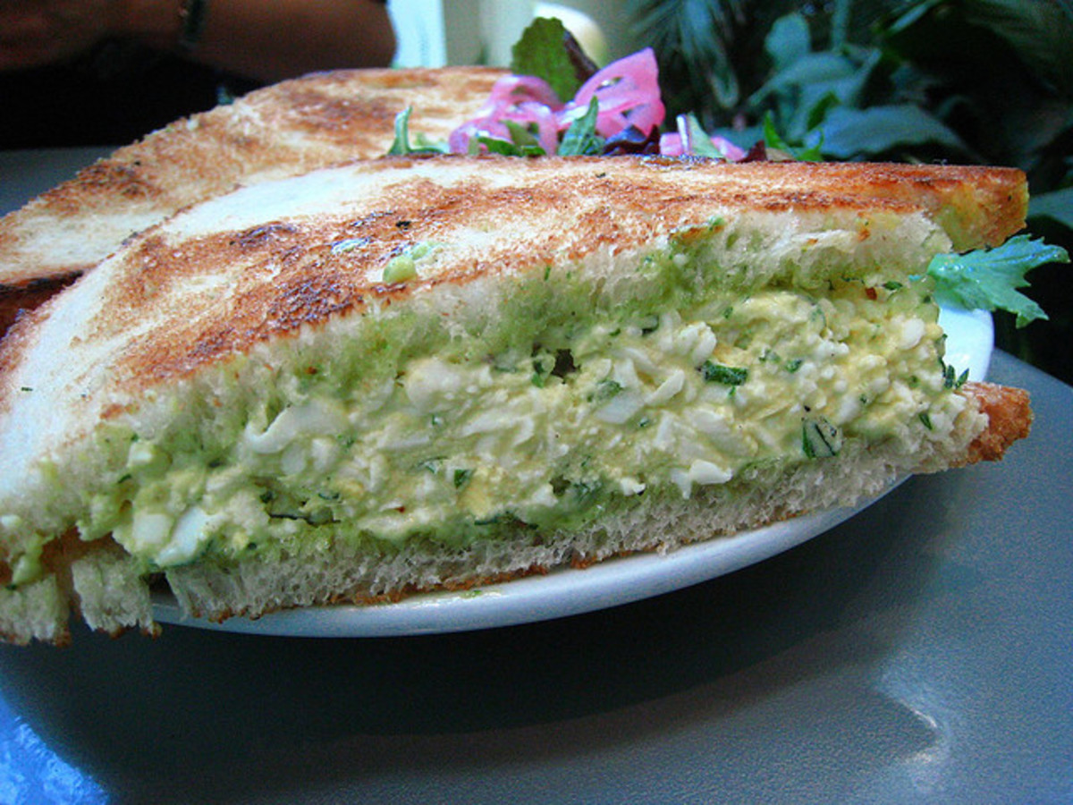 Egg Salad Sandwich with finely diced pepper