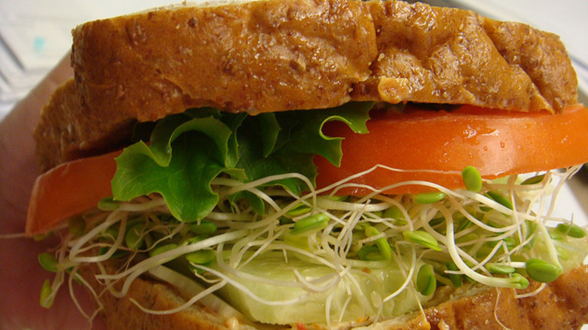 Simple sandwich with great bread, tomato, romaine, cucumber, and sprouts
